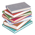 Books heap lying isolated colorful with hardcovers on white Stock Photography