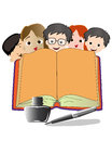 Books and kids back to school with an open book Stock Photos
