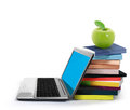 Books and laptop Royalty Free Stock Images