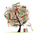 Books library on tree branches for your design Stock Image