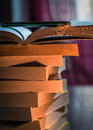 books in the light of the candle Royalty Free Stock Photo