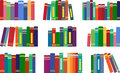 Books many of different colors on a bookshelf Stock Photography