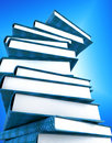 Books massive on blue Royalty Free Stock Photos