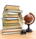 Books, pen, ink and vintage globe on white background Stock Photos