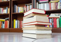 Books a pile of with library on the back Royalty Free Stock Images