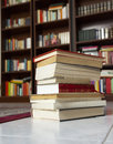 Books a pile of with library on the back Royalty Free Stock Image