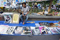 Books and posters merchants selling in a park in the city of solo central java indonesia Stock Images
