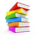 Books rainbow over white Stock Images
