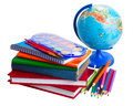 Books with school supply and globe Royalty Free Stock Photo