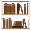 Books on shelf illustration of round Stock Images