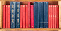 Books on the shelf red and blue wallpaper Stock Images