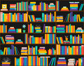Books on shelves, seamless pattern. Bookcase, library. Royalty Free Stock Photo