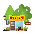Books shop facade vector.