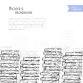 Books sketch background pile of on white vector illustration Royalty Free Stock Image