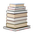 Books stack of various hardcover isolated on white Royalty Free Stock Photos
