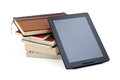 Books tablet pc and on a white background Royalty Free Stock Photo