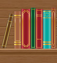 Books on wooden shelf vector illustration white background Stock Photography