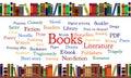Knihy bublina so slovami a knihy na police