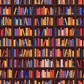 Bookshelf and books seamless pattern. Vector library or bookshop background. Bookcase shelves with education literature Royalty Free Stock Photo