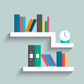 Bookshelf with colorful books and clock on blue pastel color bac