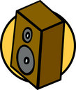 Bookshelf music speaker vector illustration Royalty Free Stock Photo