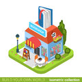 Bookstore book building shop realty real estate co concept flat d isometry isometric style web site app icon set concept vector Stock Photo