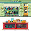 Bookstore storefront and a shelf with books vector flat illustration Royalty Free Stock Photo