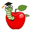 Bookworm in apple Royalty Free Stock Photo