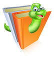 Bookworm cartoon mascot wearing glasses coming out of books Royalty Free Stock Photography