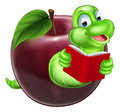 Bookworm concept a happy smiling cute green cartoon caterpillar coming out of an apple and reading a book Stock Image