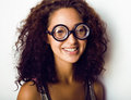 Bookworm cute young woman in glasses close up Royalty Free Stock Photo