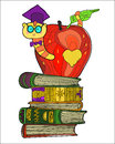 Bookworm doodle in the graduates hat in apple on a pile of books Royalty Free Stock Photography