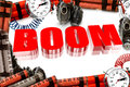 Boom characters surrounded bombs Stock Image