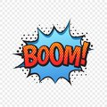 Boom comic style word isolated on transparent background Royalty Free Stock Photo