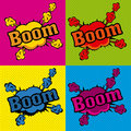 Boom comics icons over colorful background vector illustration Royalty Free Stock Photos