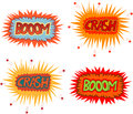 Boom crash collection of multicolored comic sound effects Royalty Free Stock Photography