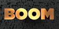 Boom - Gold text on black background - 3D rendered royalty free stock picture