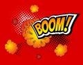 Boom. Vector Retro Comic Speech Bubble, Cartoon Comics Template. Mock-up of Book Design Elements. Sound Effects, Colored