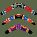 Boomerangs with aboriginal design Stock Photography