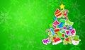 Boomkerstmis door ornament art paper green background wordt gemaakt dat Stock Foto