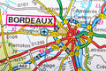 Boordeaux map the city of bordeaux in detail on the Royalty Free Stock Photo