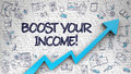Boost Your Income Drawn on White Brickwall.