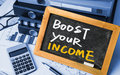 Boost your income handwritten on blackboard Royalty Free Stock Photos