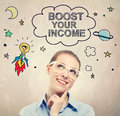 Boost Your Income idea sketch with young business woman Royalty Free Stock Photo