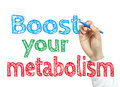 Boost your metabolism man is writing text with marker on transparent wipe board Royalty Free Stock Images