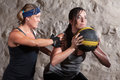 Boot Camp Workout Training with Medicine Ball Stock Photo