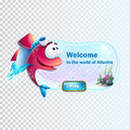 The boot screen fish with rocket Royalty Free Stock Photo