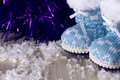 Boot on snow winter boots in the christmas composition Royalty Free Stock Image