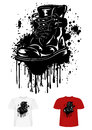 Boot and splashes vector illustration t shirt design army Stock Photography
