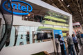 Booth of Intel Corporation at CeBIT information technology trade show